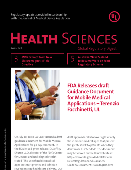 Health Sciences Global Regulatory Digest, Fall 2011 - Issue 2