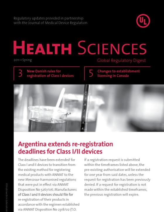Health Sciences Global Regulatory Digest, Spring 2011 - Issue 1